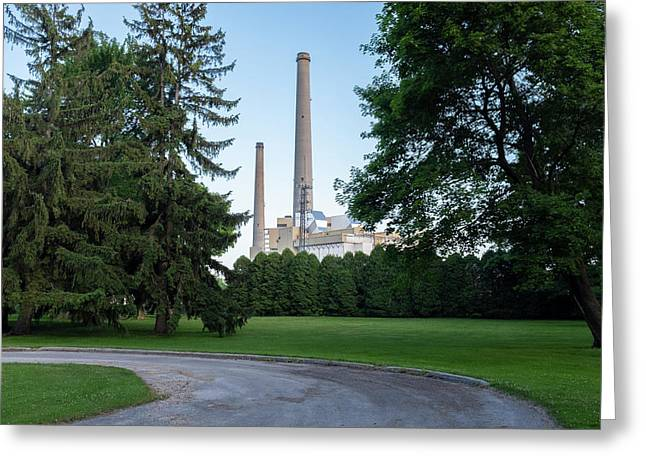 Factory Next To A Park With Smoke Stacks In Sheboygan Wisconsin Greeting Card