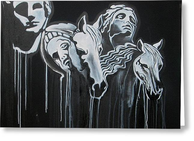 Greek Sculpture Paintings Greeting Cards - Fade To Black and Remember Back... Greeting Card by Stephen  Barry