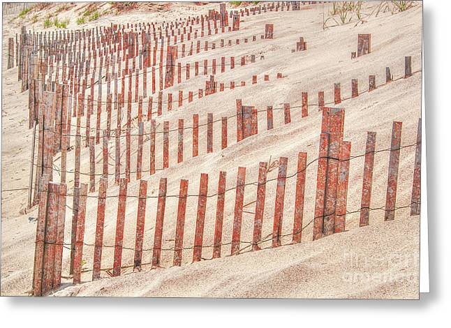 Faded Red Beach Fence  Greeting Card by Randy Steele