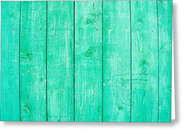 Fading Aqua Paint On Wood Greeting Card by John Williams