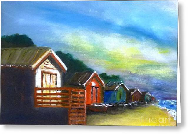 Beach Huts - Sold At Downlands Art Exhibition  Greeting Card by Therese Alcorn