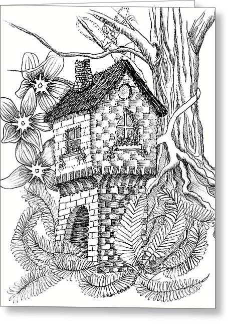 Fae Rapunzel Castle Fairy House And Ferns Greeting Card by Dawn Boyer