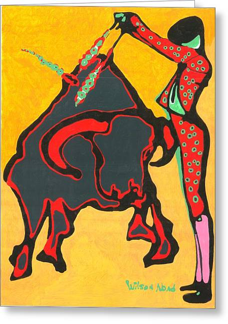 Faena Taurina Greeting Card by Wilson Abad