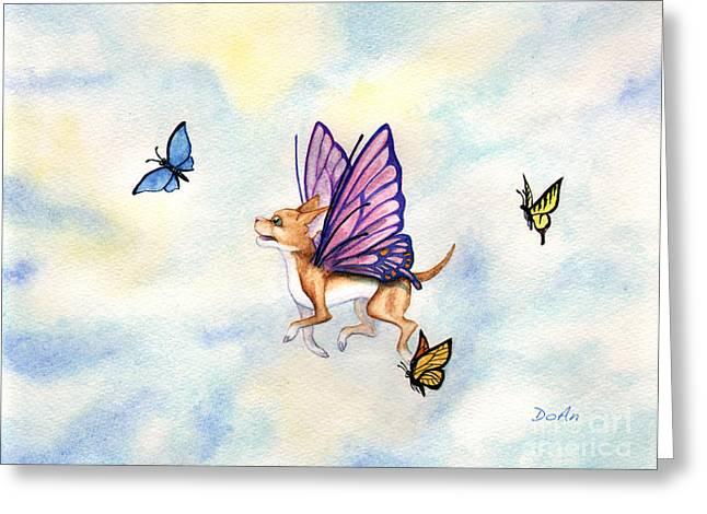 Faerie Dog Flies Greeting Card by Antony Galbraith