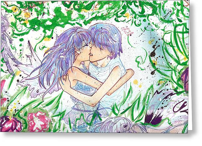 ; Maui Drawings Greeting Cards - Faerie Kiss Greeting Card by Shelby Davis