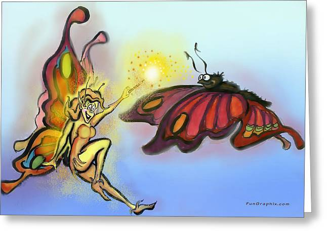 Greeting Card featuring the painting Faerie N Butterfly by Kevin Middleton