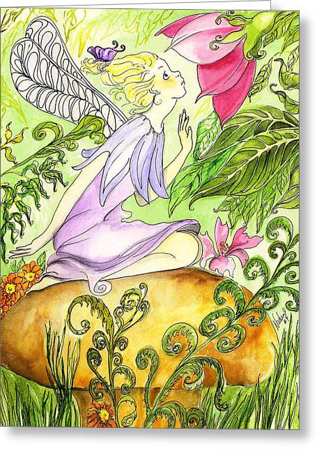 Faery On A Mushroom Greeting Card