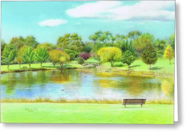 Park Benches Drawings Greeting Cards - Fagan park Greeting Card by Karen Hull