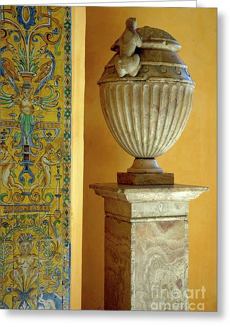 Faience Tiles And A Sculpted Vase Decorating The Patio Del Crucero In The Alcazar Of Seville Greeting Card by Sami Sarkis