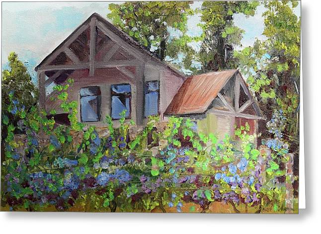 Greeting Card featuring the painting Fainting Goat Vineyard Through The Vines by Jan Dappen