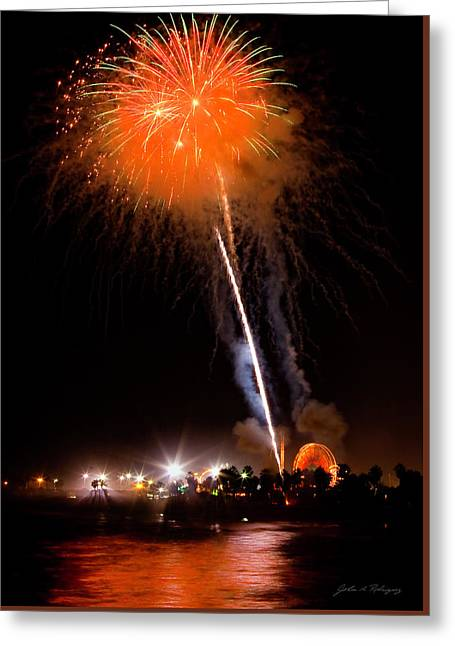 Fireworks As Seen From The Ventura California Pier Greeting Card
