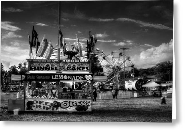 Fair Food In Black And White Greeting Card by Greg Mimbs