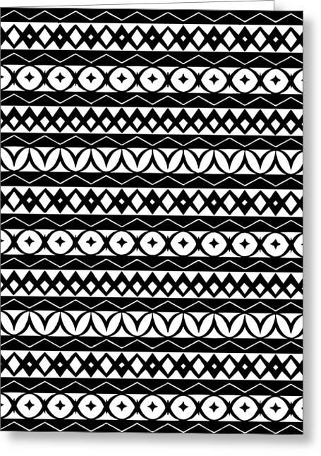 Fair Isle Black And White Greeting Card by Rachel Follett
