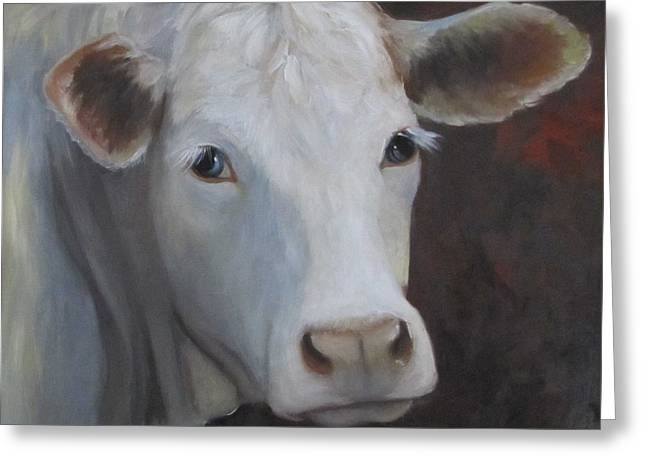 Fair Lady Cow Painting Greeting Card by Cheri Wollenberg