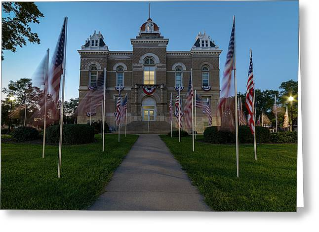 Fairbury Nebraska Avenue Of Flags - September 11 2016 Greeting Card