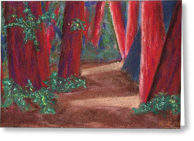 Fairfax Redwoods Greeting Card by Anne Katzeff