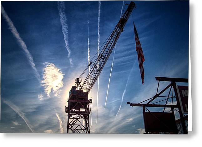 Fairfield Shipyard Whirley Crane Greeting Card by Bill Swartwout