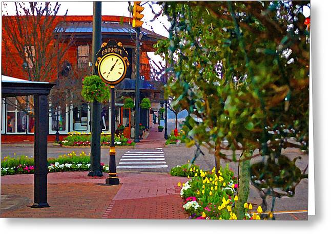 Michael Thomas Greeting Cards - Fairhope Ave with Clock down Section Street Greeting Card by Michael Thomas