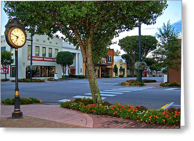 Fairhope Ave With Clock Greeting Card