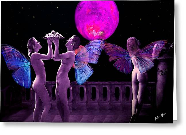 Fairies In Roman Garden Greeting Card by Tray Mead