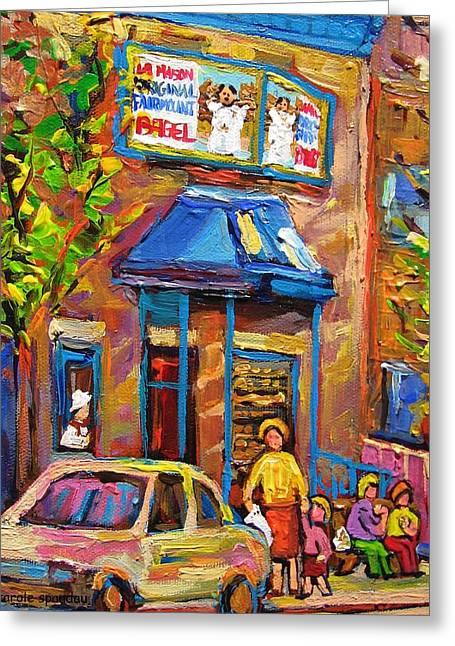 Fairmount Bagel Fairmount Street Montreal Greeting Card by Carole Spandau