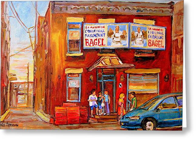 Hockey Paintings Greeting Cards - Fairmount Bagel Montreal Street Scene Painting Greeting Card by Carole Spandau