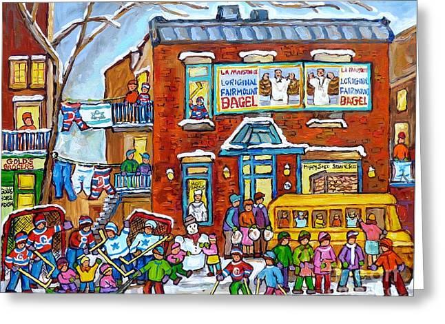 Fairmount Bagel Winter Playground Street Scene Hockey Schoolbus Montreal Memories Carole Spandau     Greeting Card
