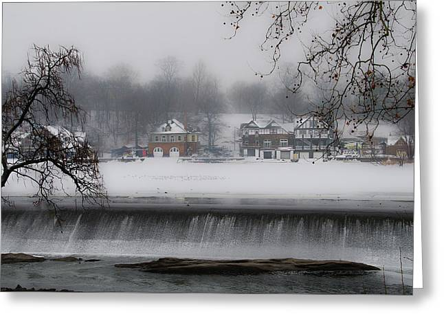 Fairmount Dam And Boathouse Row In The Snow Greeting Card by Bill Cannon