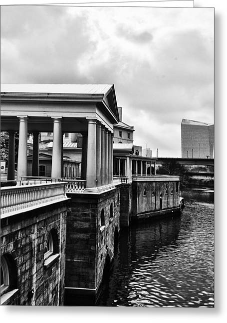 Philadelphia Digital Greeting Cards - Fairmount Water Works in Black and White Greeting Card by Bill Cannon