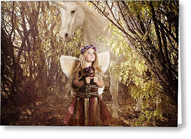 Fairy And Unicorn Greeting Card by Cindy Singleton