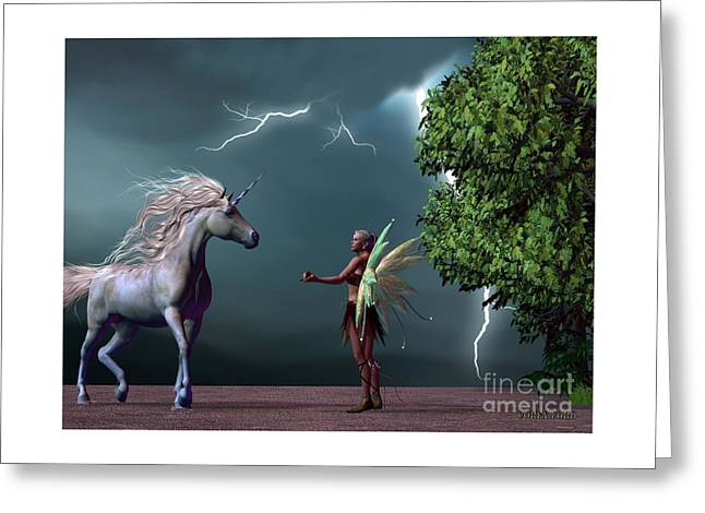 Fairy And Unicorn Greeting Card by Corey Ford