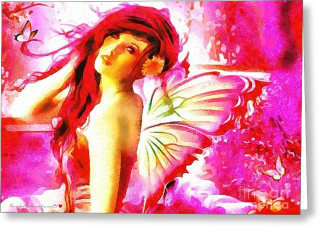 Fairy Angel In The Mix In Thick Paint Greeting Card