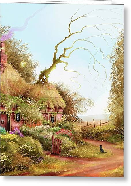 Fairy Chase Cottage Greeting Card