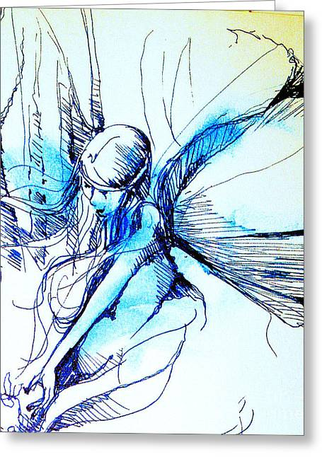 Greeting Card featuring the drawing Fairy Doodles by Linda Shackelford
