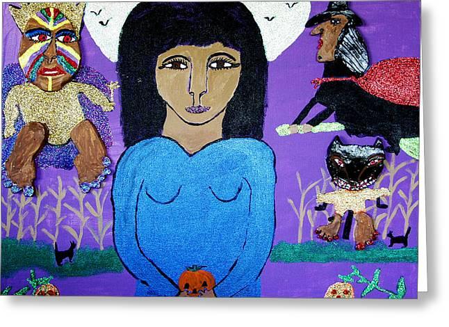 Fairy Egg Head Vs. Broomhilde Greeting Card by Betty J Roberts