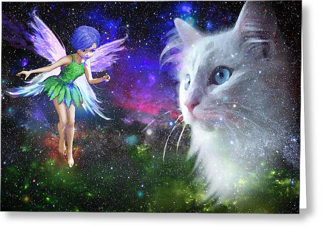 Fairy Encounters Cat  Greeting Card