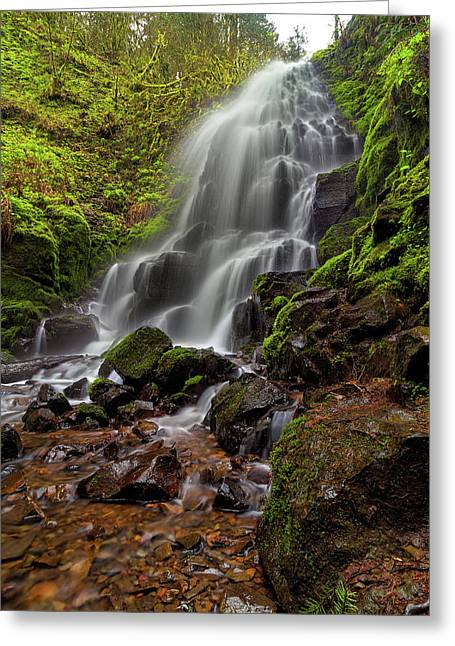 Fairy Falls In Columbia Gorge Greeting Card by David Gn