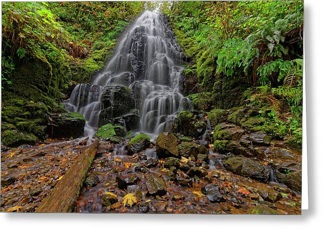 Greeting Card featuring the photograph Fairy Falls by Jonathan Davison