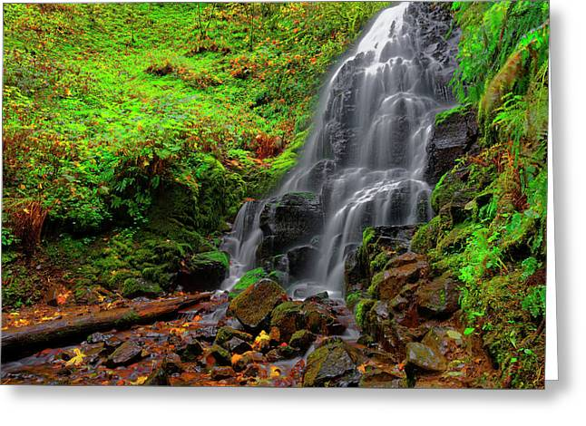 Greeting Card featuring the photograph Fairy Falls Oregon by Jonathan Davison