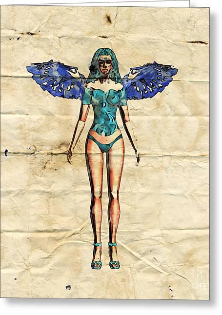 Fairy Girl Pop Art By Mary Bassett Greeting Card