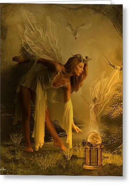 Fairy Glow Greeting Card by Ali Oppy