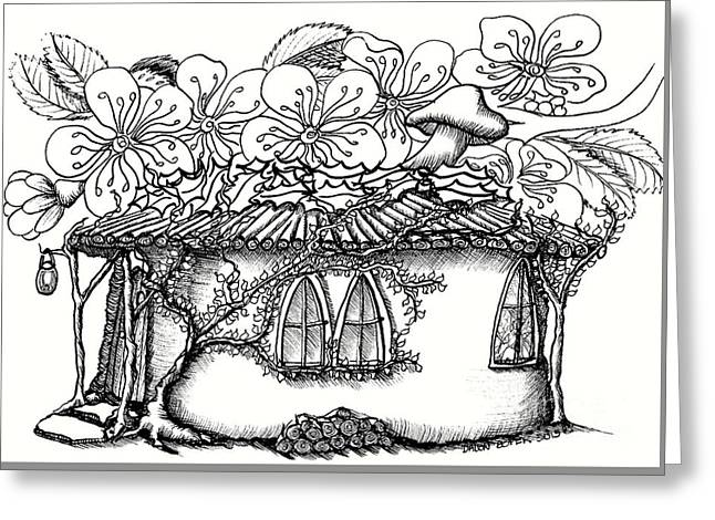 Fairy Hacienda With Floral Roof Greeting Card by Dawn Boyer
