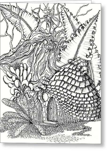 Fairy House Forest Guardian And Ferns Greeting Card by Dawn Boyer