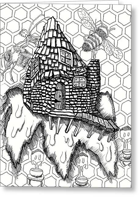 Fairy House Honey Bee Keeper Greeting Card by Dawn Boyer