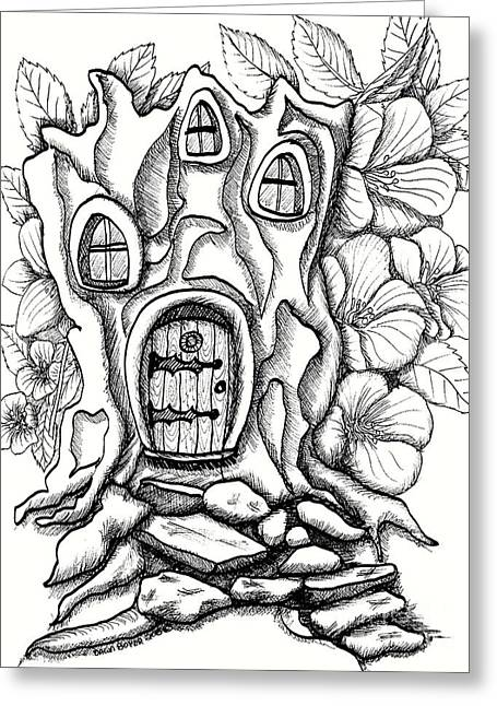 Fairy House Stump And Hibiscus Greeting Card by Dawn Boyer