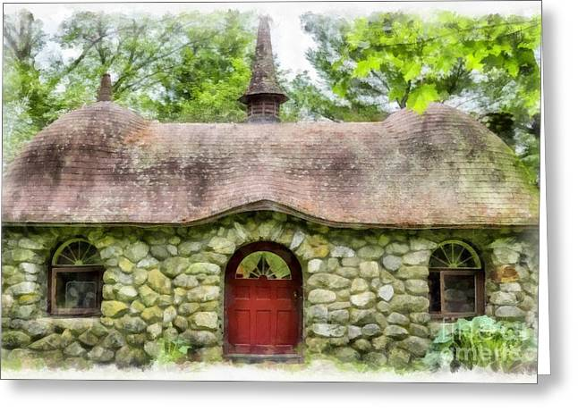 Fairy House Watercolor Greeting Card by Edward Fielding