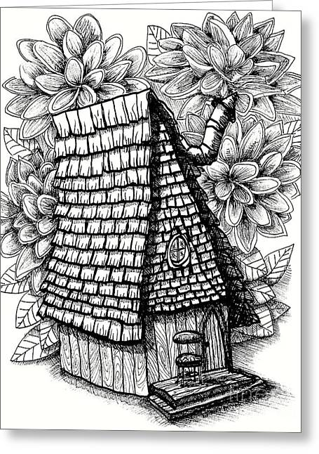 Fairy House With Chair In Porch And Calendula Greeting Card by Dawn Boyer