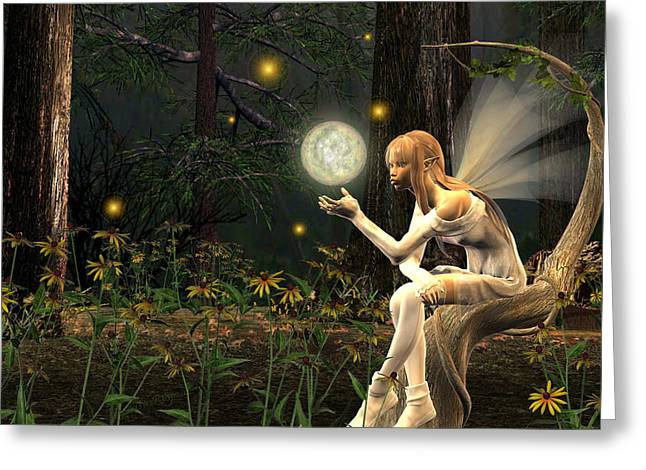 Fairy Light Greeting Card by Lisa Roy