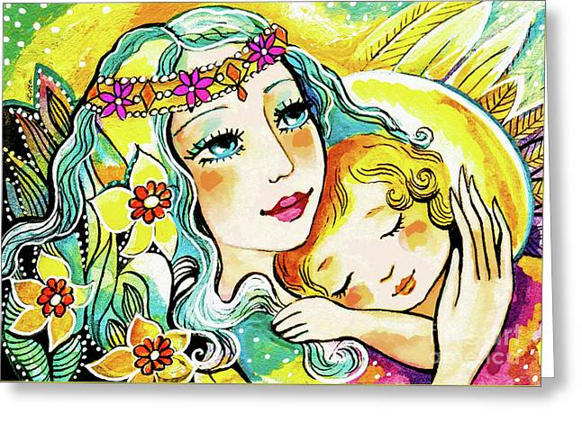 Greeting Card featuring the painting Fairy Mother And Angel Child by Eva Campbell