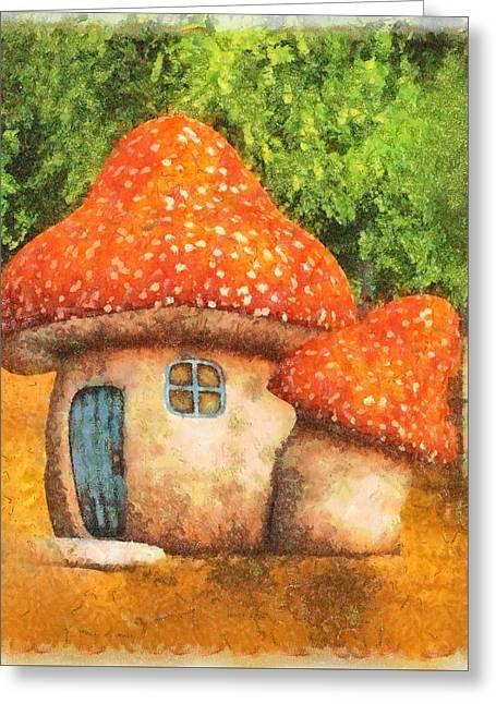Fairy Mushroom House Greeting Card by Sarah Kirk